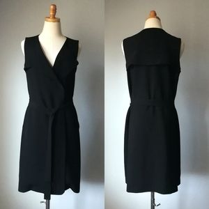 Ann Taylor Black Trench Dress wrap jacket vest